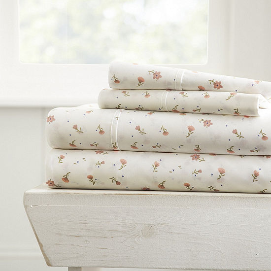 Casual Comfort Premium Ultra Soft Floral Pattern 4Piece Bed Sheet Set
