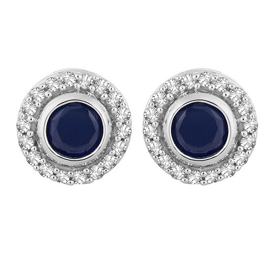 1/10 CT. T.W. Genuine Blue Sapphire 10K White Gold 7.2mm Round Stud Earrings