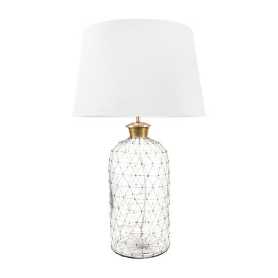"Watch Hill 31"" Emily Glass Cotton Shade Table Lamp"