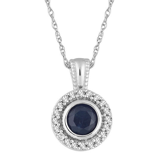 Womens 1/10 CT. T.W. Genuine Blue Sapphire 10K White Gold Round Pendant Necklace