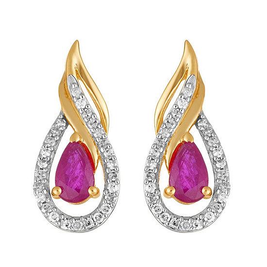 1/7 CT. T.W. Lead Glass-Filled Red Ruby 10K Gold Pear Drop Earrings