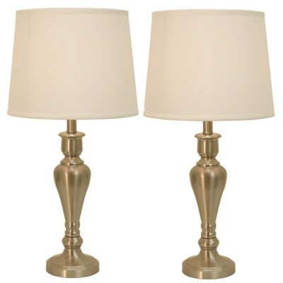 Decor Therapy Brushed Steel 2 Pack Touch Control Table Lamps