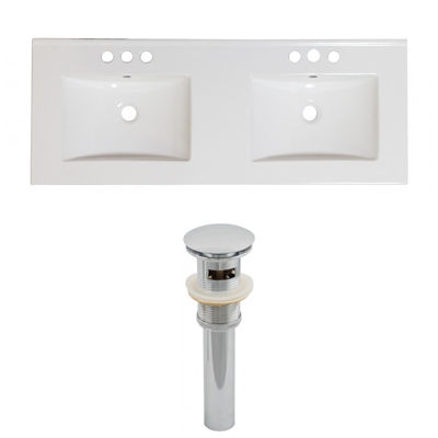 59-in. W 3H8-in. Ceramic Top Set In White Color -Overflow Drain Incl.