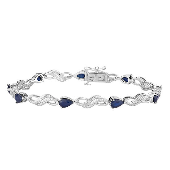Diamond Accent Genuine Blue Sapphire 10K White Gold 7.5 Inch Tennis Bracelet