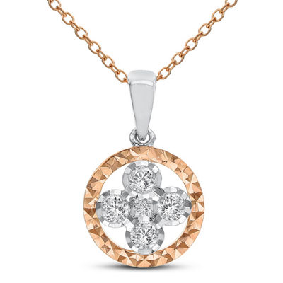 Womens 1/5 CT. T.W. White Diamond 14K Gold Pendant Necklace