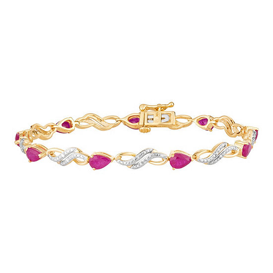 Diamond Accent Lead Glass Filled Red Ruby 10k Gold 75 Inch Tennis Bracelet