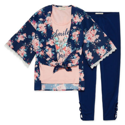 Self Esteem Floral Kimono Legging Set - Girls' 4-16 & Plus