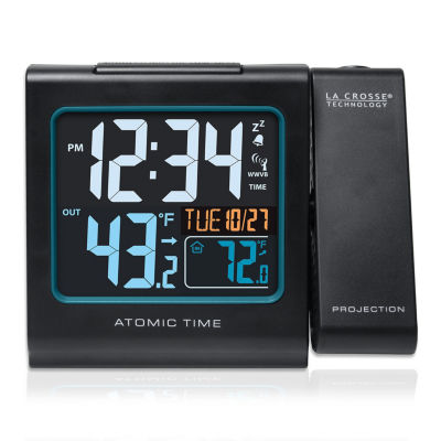 La Crosse Technology Color Projection Alarm clock with Outdoor Temperature and Charging USB port