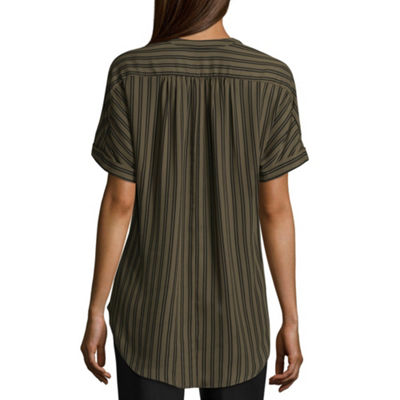 Worthington Short Sleeve V Neck Georgette Blouse