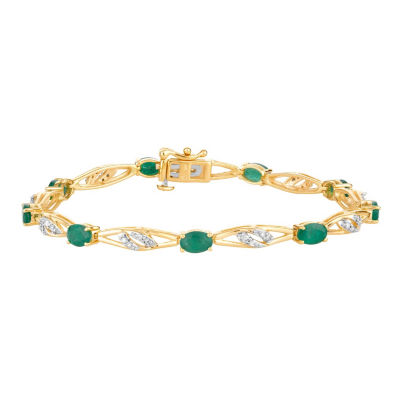 1/3 CT. T.W. Genuine Green Emerald 10K Gold 7.5 Inch Tennis Bracelet