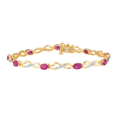 1/4 CT. T.W. Lead Glass-Filled Red Ruby 10K Gold 7.5 Inch Tennis Bracelet