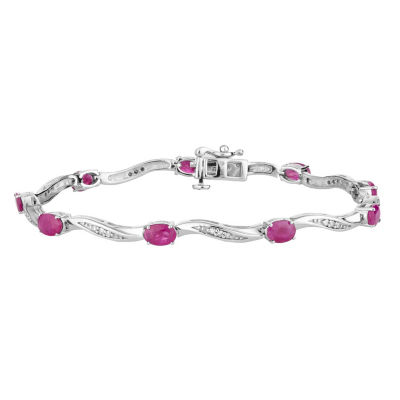 1/5 CT. T.W. Lead Glass-Filled Red Ruby 10K White Gold 7.5 Inch Tennis Bracelet