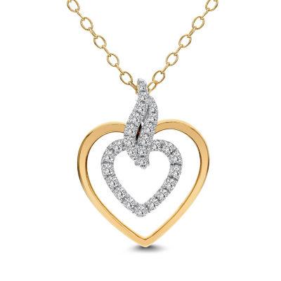 Womens 1/5 CT. T.W. White Diamond 14K Gold Heart Pendant Necklace