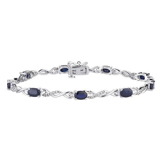 1 3 Ct Tw Genuine Blue Sapphire 10k White Gold 75 Inch Tennis Bracelet