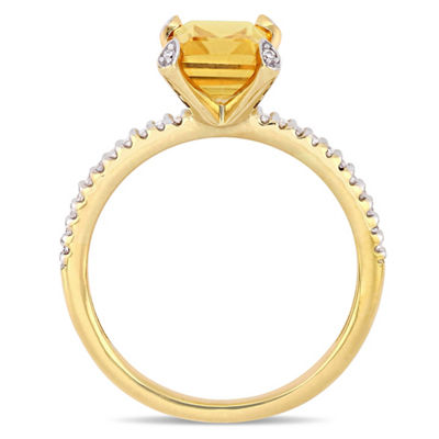 Womens 1/10 CT. T.W. Genuine Yellow Citrine 10K Gold Cocktail Ring