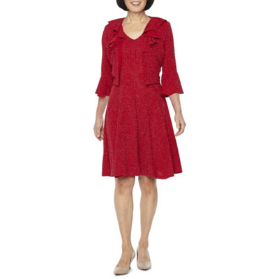 Danny & Nicole 3/4 Bell Sleeve Glitter Knit Jacket Dress