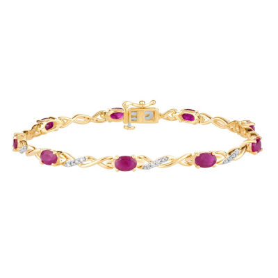 1/3 CT. T.W. Lead Glass-Filled Red Ruby 10K Gold 7.5 Inch Tennis Bracelet