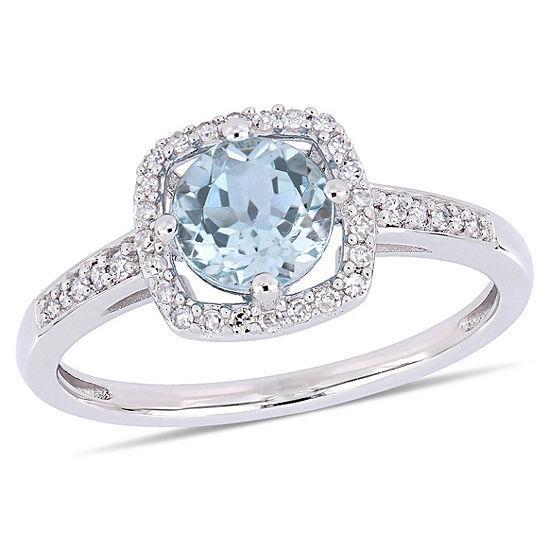 Womens 1 7 Ct Tw Genuine Blue Topaz 10k White Gold Cocktail Ring