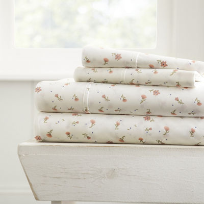 Casual Comfort Premium Ultra Soft Floral Pattern 4 Piece Bed Sheet Set