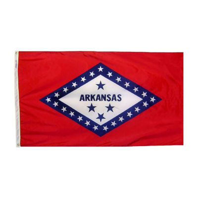 Arkansas State Flag 4x6 ft. Nylon SolarGuard Nyl-Glo 100% Made in USA to Official State Design Specifications by Annin Flagmakers.  Model 140370