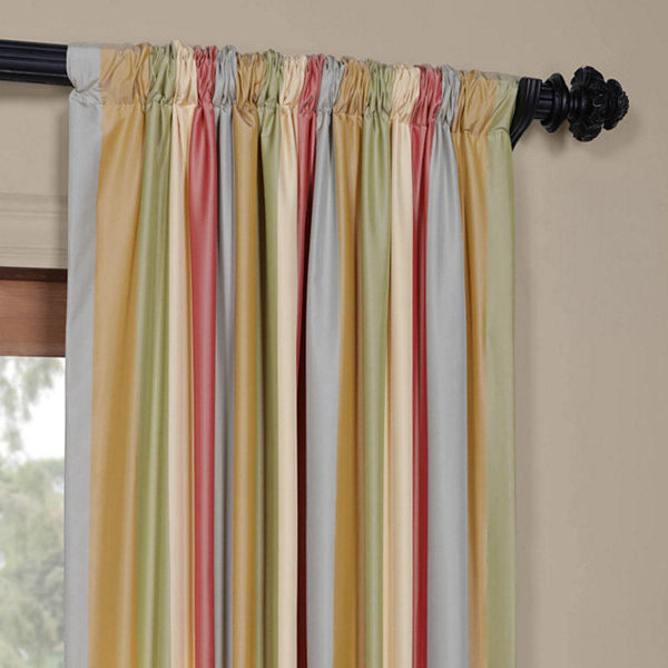 Exclusive Fabrics & Furnishing Hapsford Luxury Faux Silk Stripe Rod-Pocket/Back-Tab Curtain Panel