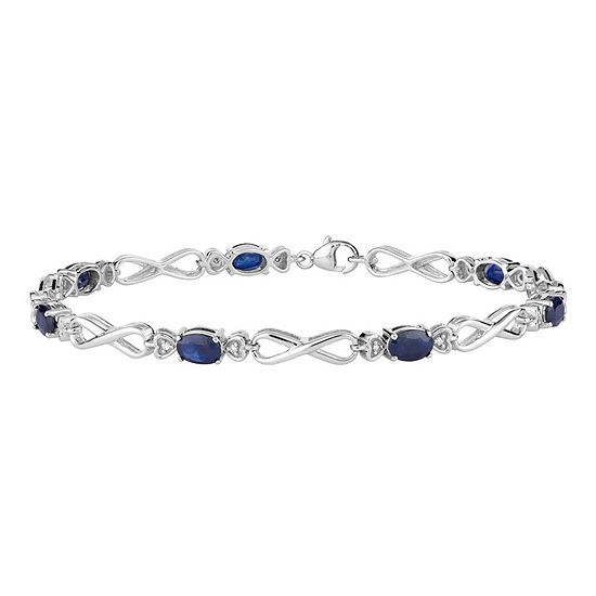Diamond Accent Genuine Blue Sapphire 10K White Gold 7.5 Inch Tennis Bracelet