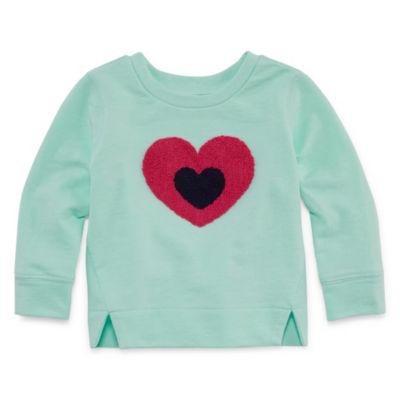Okie Dokie Long Sleeve Heart Sweatshirt-Baby Girls NB-24M