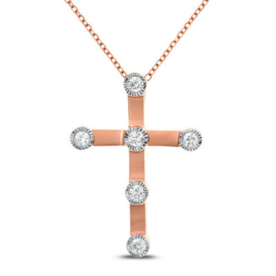 Womens 1/4 CT. T.W. White Diamond 14K Rose Gold Cross Pendant Necklace