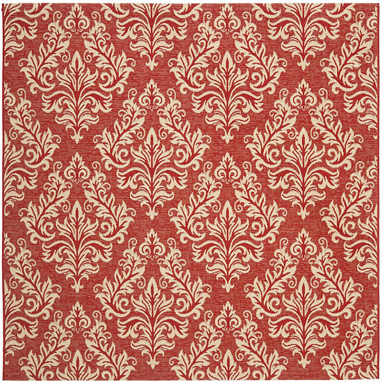 Safavieh Courtyard Collection Domhnall Floral Indoor/Outdoor Square Area Rug