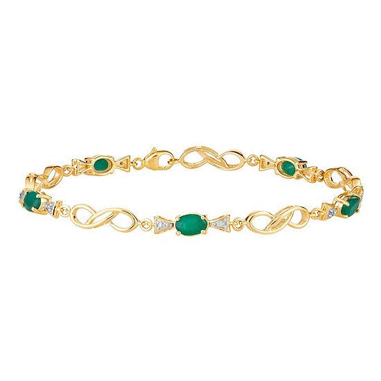 Diamond Accent Genuine Green Emerald 10K Gold 7.5 Inch Tennis Bracelet