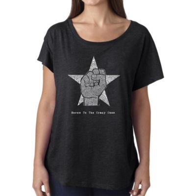 Los Angeles Pop Art Women's Loose Fit Dolman Cut Word Art Shirt - Steve Jobs - Here's To The Crazy Ones