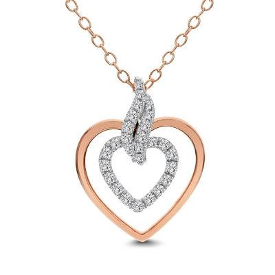Womens 1/5 CT. T.W. White Diamond 14K Rose Gold Heart Pendant Necklace
