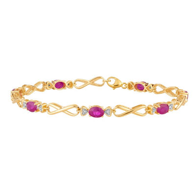 Diamond Accent Lead Glass-Filled Red Ruby 10K Gold 7.5 Inch Tennis Bracelet