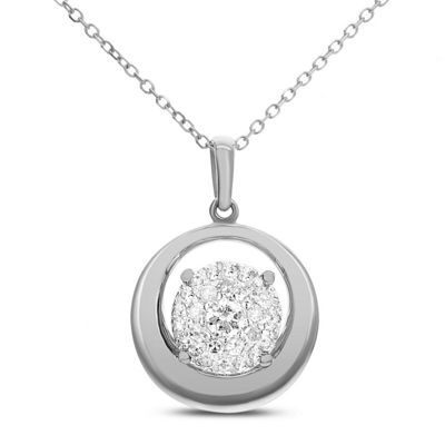 Womens 1/5 CT. T.W. White Diamond 14K White Gold Pendant Necklace
