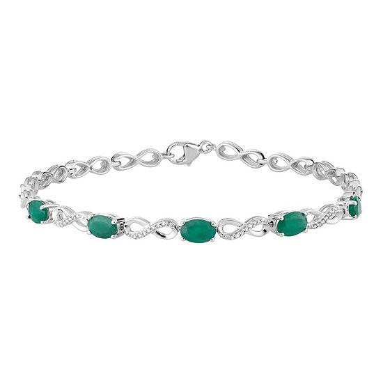 Diamond Accent Genuine Green Emerald 10K White Gold 7.5 Inch Tennis Bracelet