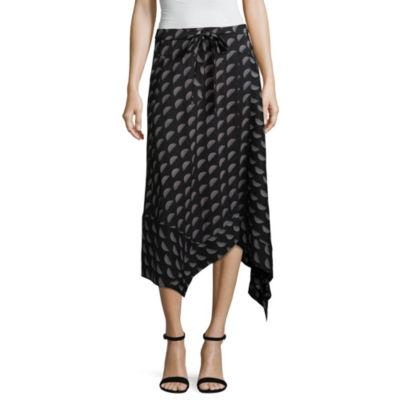 Worthington Womens Mid Rise Midi Wrap Skirt