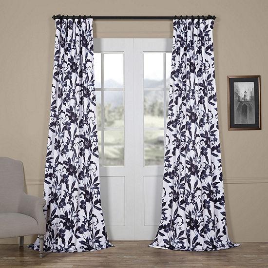 Exclusive Fabrics & Furnishing Hibiscus Blackout Rod-Pocket/Back-Tab Curtain Panel