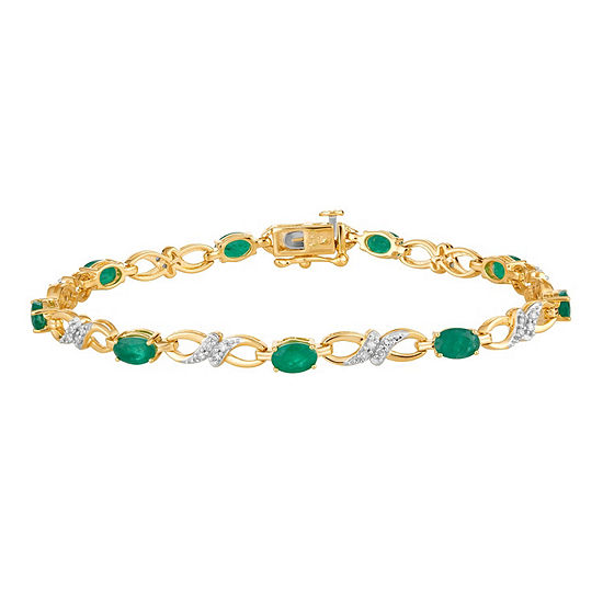 1/3 CT. T.W. Genuine Green Emerald 10K Gold 7.5 Inch Tennis Bracelet