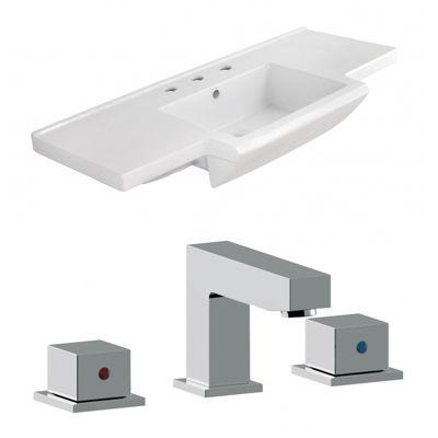 40-in. W 3H8-in. Ceramic Top Set In White Color -CUPC Faucet Incl.