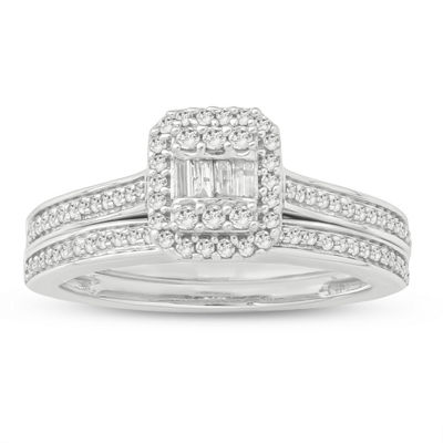 Womens 3/8 CT. T.W. Genuine White Diamond 10K Gold Bridal Set