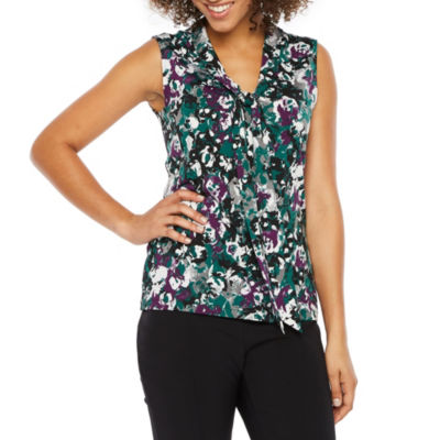 Chelsea Rose Sleeveless Y Neck Floral Blouse