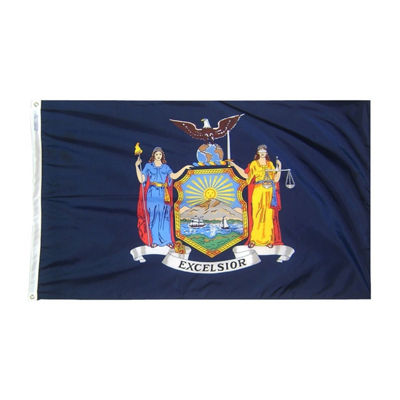 New York State Flag 5x8 ft. Nylon SolarGuard Nyl-Glo 100% Made in USA to Official State Design Specifications by Annin Flagmakers.  Model 143880