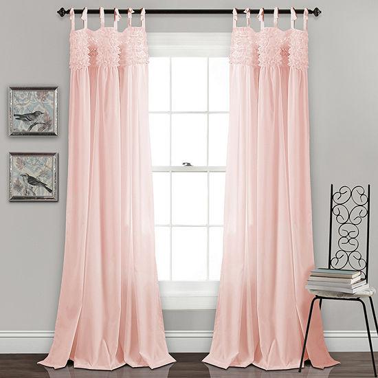 Lush Decor Lydia Ruffle Light-Filtering Set of 2 Curtain Panel