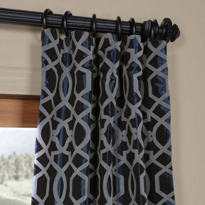 Exclusive Fabrics & Furnishing Filigree Flocked Faux Silk Rod-Pocket Curtain Panel