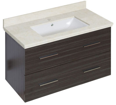 36-in. W Wall Mount Dawn Grey Vanity Set For 1 Hole Drilling Beige Top White UM Sink
