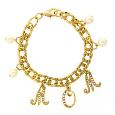 1928 Mother'S Day Items Gold Tone Brass Charm Bracelet