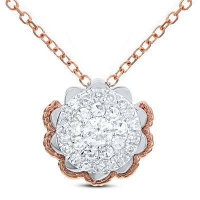 Womens 1/4 CT. T.W. White Diamond 14K Rose Gold Flower Pendant Necklace