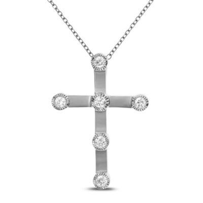 Womens 1/4 CT. T.W. White Diamond 14K White Gold Cross Pendant Necklace
