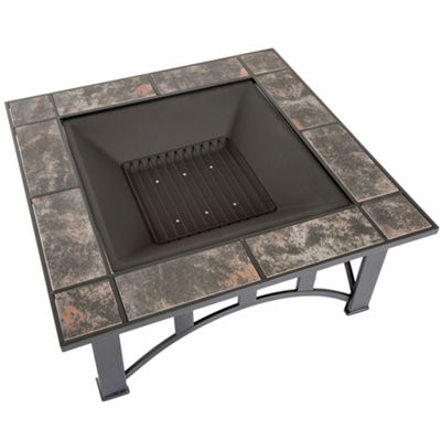 Pure Garden 33 in. Square Marble Tile Firepit