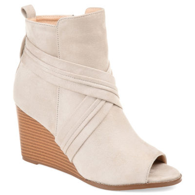 Journee Collection Womens Jc Sabeena Booties Wedge Heel Zip
